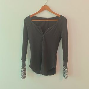 Free People | Black Long-Sleeve Thermal Henley